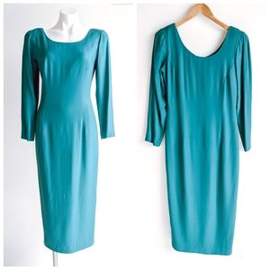 VTG Santa Fe Bateau neckline Teal Wiggle Dress